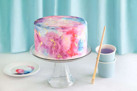 Whimsical Watercolor Cakes - This Girly Graffiti Cake is Decorated with Watercolors and Gold Foil