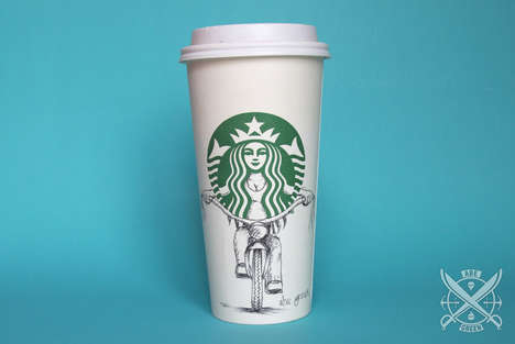 Coffee Cup Logo Doodles - This Collection Transforms the Starbucks Siren into Various Characters