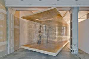 The 'Thicket Pavilion Study 2.0' is a Semi-Clear Steel Rod Structure