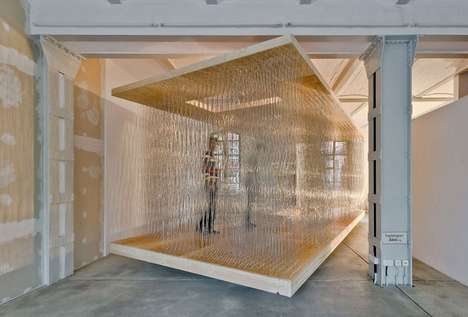 Thicket-Mimicking Pavillions - The 'Thicket Pavilion Study 2.0' is a Semi-Clear Steel Rod Structure