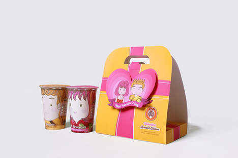 Coupled Juice Carriers - This Valentine's Edition Drink Carrier Features a His and Her Set