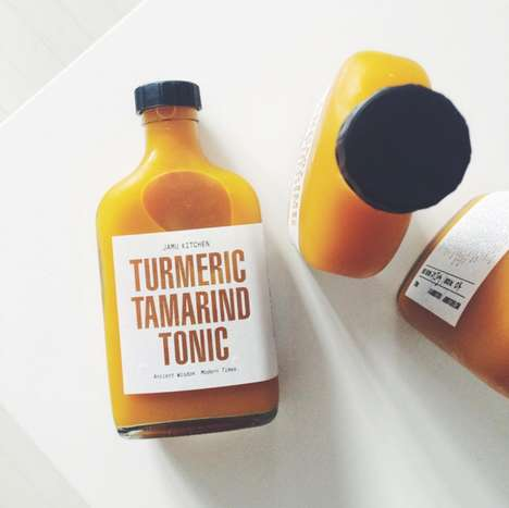Die-Cut Juice Labels - The Jamu Kitchen's Turmeric Juice Boasts Inner & Outer Beauty Benefits