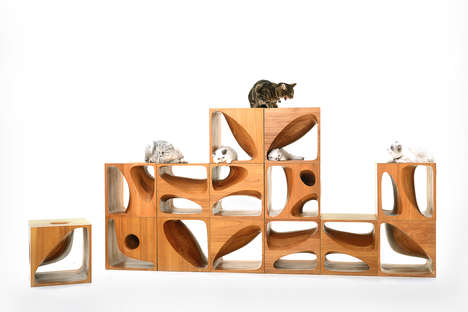 Modular Cat Furniture - These LEGO-Like Cubes Create a Customizable Habitat for a Cat