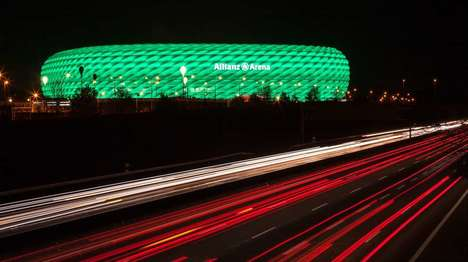 LED-Wrapped Stadiums - The Allianz Arena Stadium Now Features a 300,000 LED Facade