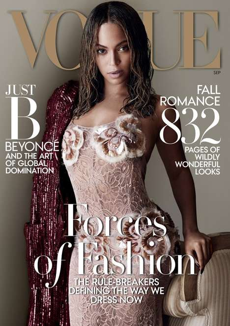 Wet-Haired Songstress Portraits - This Beyonce American Vogue Feature Celebrates Dynamic Glamour