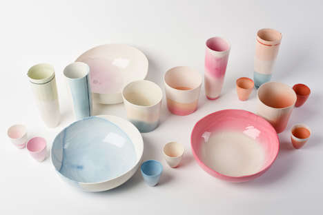Fabric-Dyed Ceramics - These Unique Ceramics are Colored Using a Fabric Dye and a Glazing Process