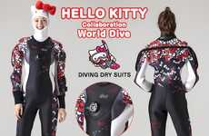 This Hello Kitty Dry Suit is Decorated with Cartoon Bows & Whiskers