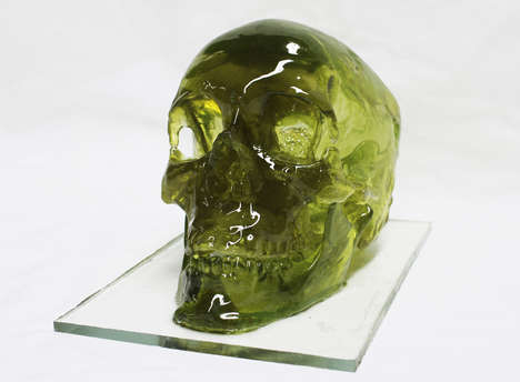 Sugary Skull Sculptures - This Sugar Skull Sculpture is a Life-Sized, Raspberry Flavored Replica