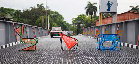 Stretched Rubber Seating - These Colorful Elastic Seats are Designed to Provide Tension and Support