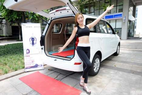 Automotive Yoga Studios - Momo's Yoga in the Car Classes are Taught in the Back of an SUV