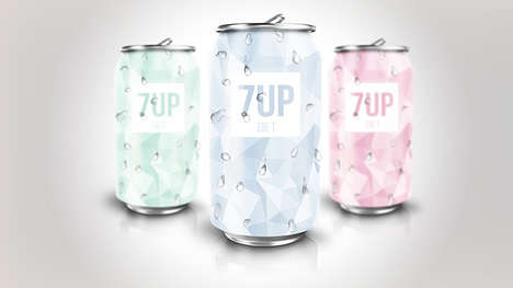Remixed Geometric Sodas - These Redesigned Diet 7Up Cans Boasts Angular Patterns and Pastel Colors