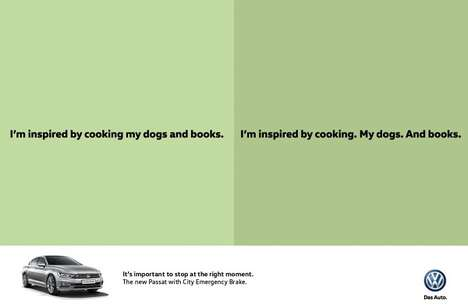 Grammatical Car Ads - These Volkswagen Ads Encourage Drivers to Break by Discarding Commas
