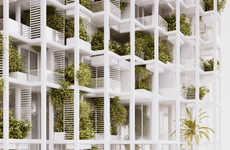 Cubical Garden Structures - This Massive Garden Tower Features Alternating Botanical Balconies