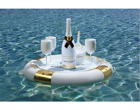 Floating Champagne Bars - This Moët & Chandon Floating Bar is Shaped like a Tube with Gold Accents
