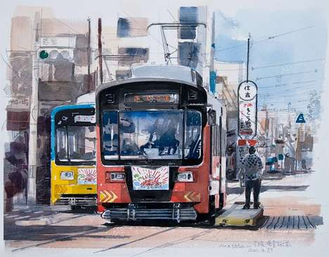 Urban Watercolor Portraits - Masato Watanabe's Paintings of Japan are Delicate and Detailed