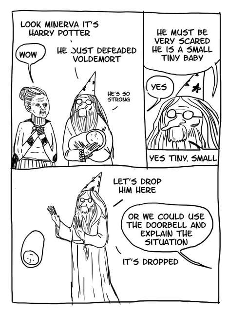 Hilarious Wizard Cartoons - These Harry Potter Cartoons Cast Dumbledore in a New (and Funny) Light
