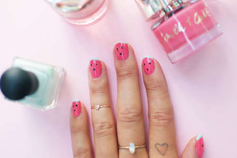 Whimsical Watermelon Manicures - This Nail Tutorial Transforms Your Fingers into Fresh Fruit Slices