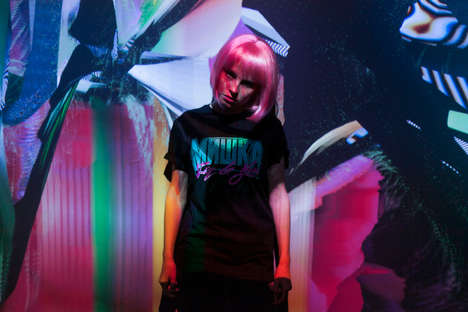 Futuristic Neon Lookbooks - This Psychedelic Clothing Line Has Florescent Colors Atop Black Fabrics