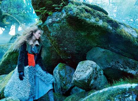 Whimsical Woodland Editorials - Vogue's 'Into the Woods' Story Features Scenic Landscape Photorgaphy