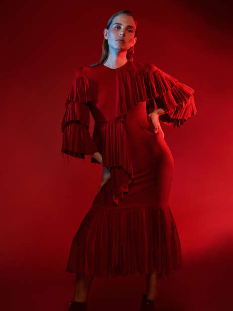 Moody Crimson Editorials - Harper's Bazaar Germany's Lina Berg Feature Highlights a Red Wardrobe