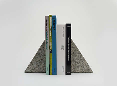 Minimalist Granite Bookends - These Triangular Shaped Bookends Can Hold Up the Heaviest of Books