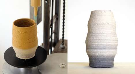 3D-Printed Pottery - Daniel de Bruin Invented a Hand-Powered 3D Printer for Hands-On Designers