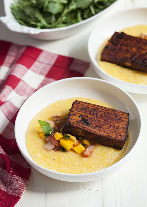 Zesty Tofu Polentas - This Raw Polenta Dish is Topped with Mango and Tomato Salsa