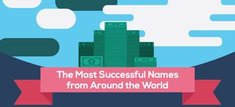 Wealthy Moniker Charts - This Baby Names Infographic Lists Successful Names Based on Billionaires