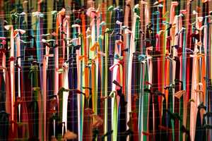 This Cultural Ribbon Art is Suspended Over a Jazz Stage in Mall Palza