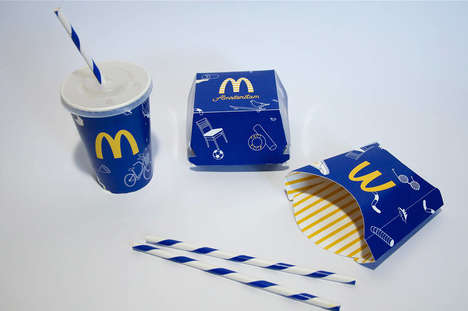 Remixed Restaurant Packaging - Yael Weiser Remixes Traditional McDonald's Branding With Blue Hues