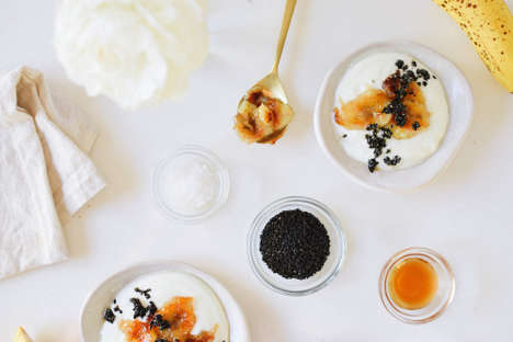 Burnt Banana Yogurts - This Banana Brulee Concoction Comes With a Side of Black Sesame Brittle