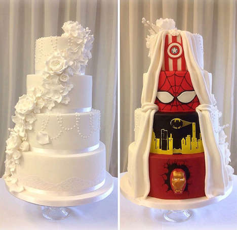 Hidden Superhero Wedding Cakes - This Superhero Wedding Cake is Half Classic and Half Comic Book