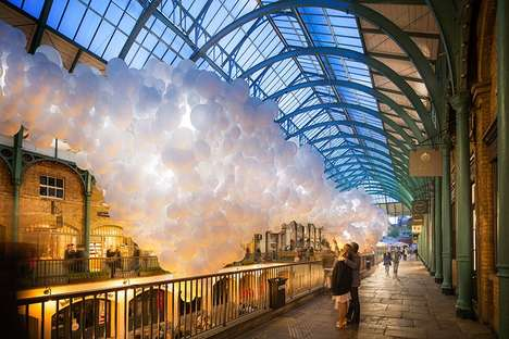 Cloud-Shaped Balloon Installations - These Hanging White Balloons Resemble Floating Clouds