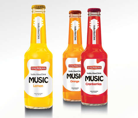 Guitar-Labeled Cocktails - These Ready to Drink Beverages Feature an All White Guitar Silhouette