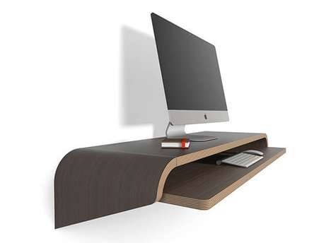 Wall-Mounted Floating Desks - This Minimal Tabletop Provides Infinite Leg Room and Accessibility