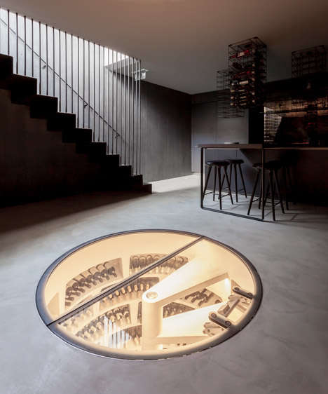 Porthole Wine Cellars - This Underground Cellar Has a Glass Roof That Doubles As the Kitchen Floor