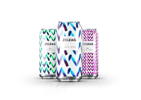 Hand-Painted Can Labels - These Energy Drinks Feature Vibrant Zigzag Paint Patterns