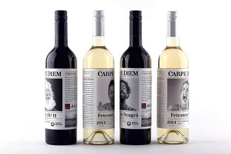 Emotional Wine Labels - The Carpe Diem Wine Branding Features Emotional Portrait Imagery