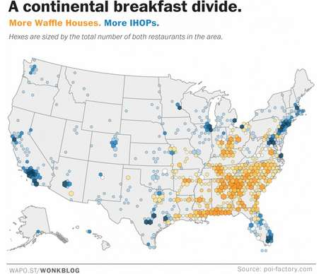 Breakfast Preference Infographics - This Map Divides the United States by Waffles or Pancakes