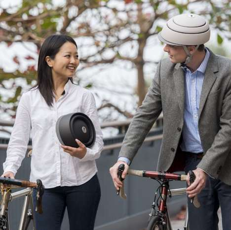 Collapsable Biking Helmets - The Fuga Bicycle Helmet Design Cleverly Saves on Storage Space