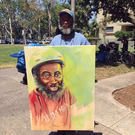 Homeless Painted Portraits - The Proceeds from These Homeless Art Pieces Benefit Those They Depict