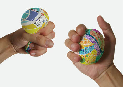 Typographic Egg Maps - This Tiny Map Expands When Squeezed to Show Close-Up Directions