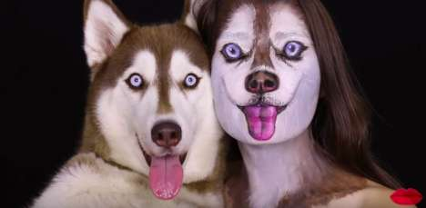 Canine Makeup Transformations - Artist Ilana Turns Herself into a Husky Using Solely Cosmetics