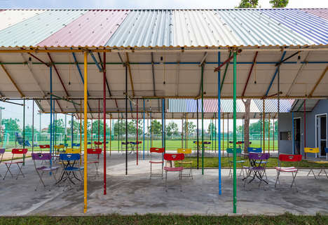 Rainbow-Hued Community Pavilions - This Outdoor Community Center Boasts Rainbow Roofing and Beams