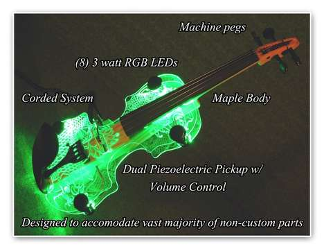 Illuminated LED Violins - The Spectra Violin Changes Color to Accompany Music