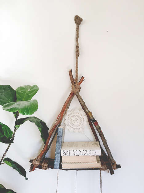 Hanging Library Crafts - This Natural-Looking DIY Hanging Shelf Lets Passerby Borrow Books