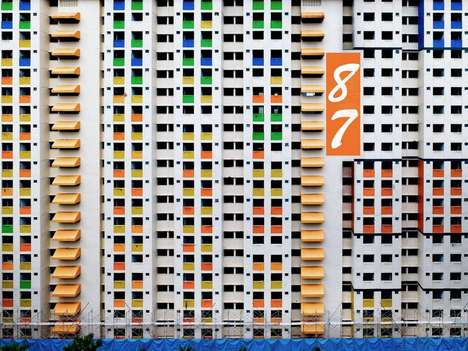 Building Facade Photography - These Buildings in Singapore Utilize Pastels and Uniform Architecture