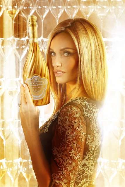 Model-Inspired Champagnes - This Golden Bottled Beverage was Created by Model Adriana Karembeu