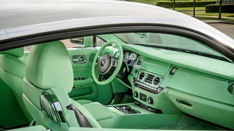 Aquatic-Colored Car Interiors - This Rolls-Royce Wraith is Completely Coated in an Aqeuus Green Hue