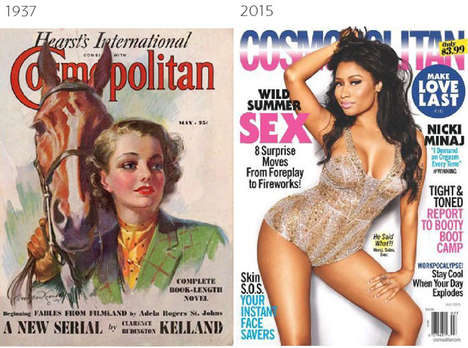 Comparative Magazine Covers - These Juxtaposed Cosmopolitan, Vogue and Time Covers Span a Century